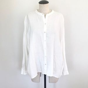 Eileen Fisher Organic Linen Long Sleeve Top Large